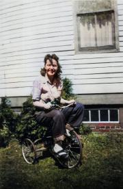 Gladys (Marsh) Zomek on Tricycle